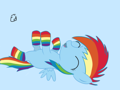 Filly Rainbow Dash in socks! ^-^