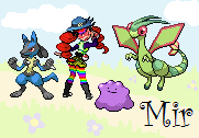 Sprite of me and my pokemon. With background! :D