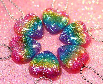 glitter rainbow heart