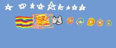 Nyan Cat eatin Donuts!!